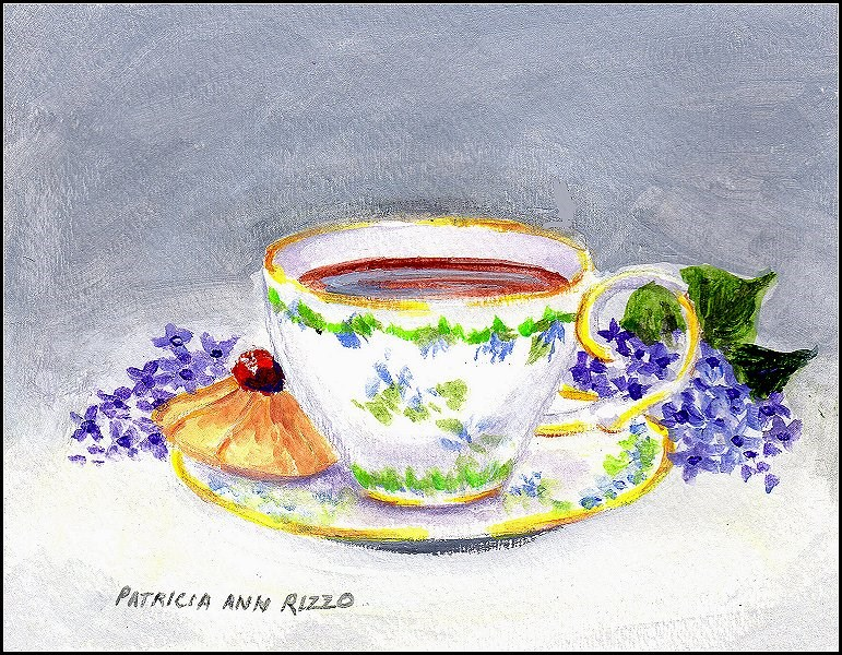 """Tea and a Cookie"" original fine art by Patricia Ann Rizzo"