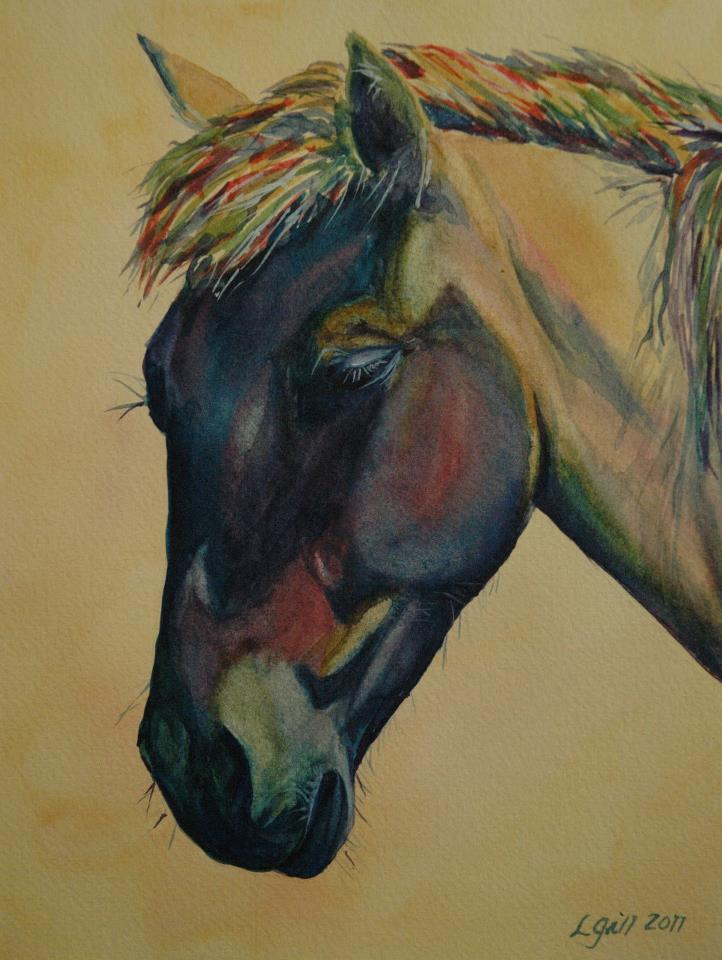 """Paint Pony 15 - Moody Mustang"" original fine art by Lyn Gill"