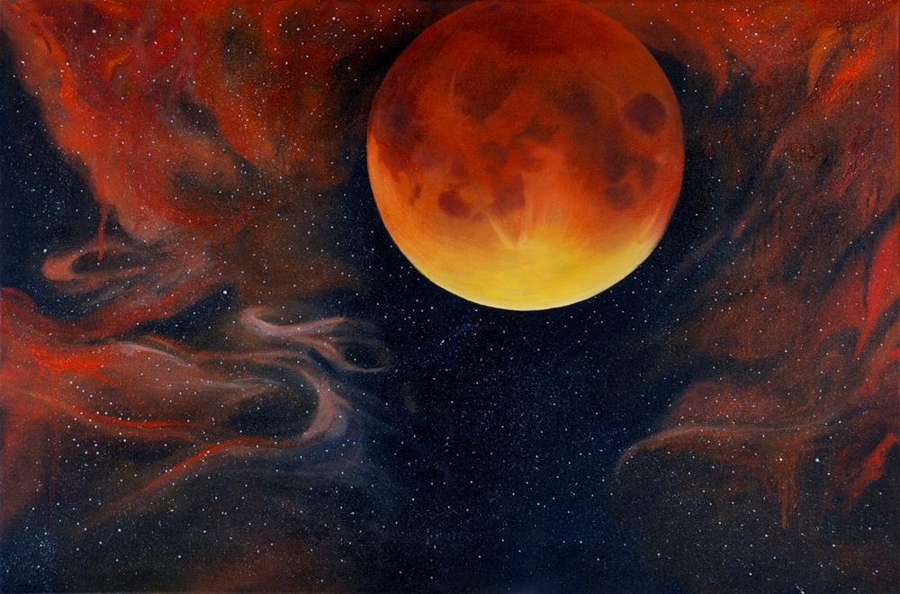 """Blood Moon"" original fine art by Patti Adams"