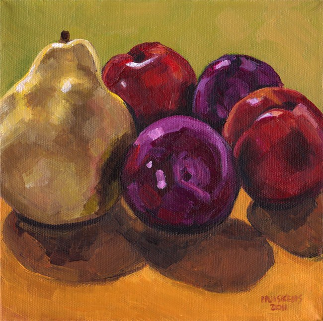 """Pear And Plums"" original fine art by Randal Huiskens"
