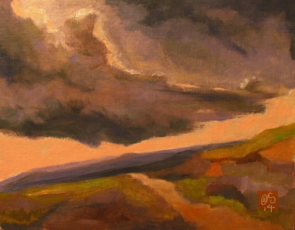 """Summer Salmon Sky"" original fine art by Aurelio Saiz"