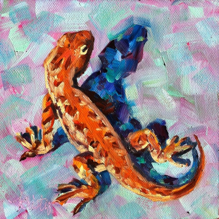 """LOUNGE LIZARD"" original fine art by Kristy Tracy"