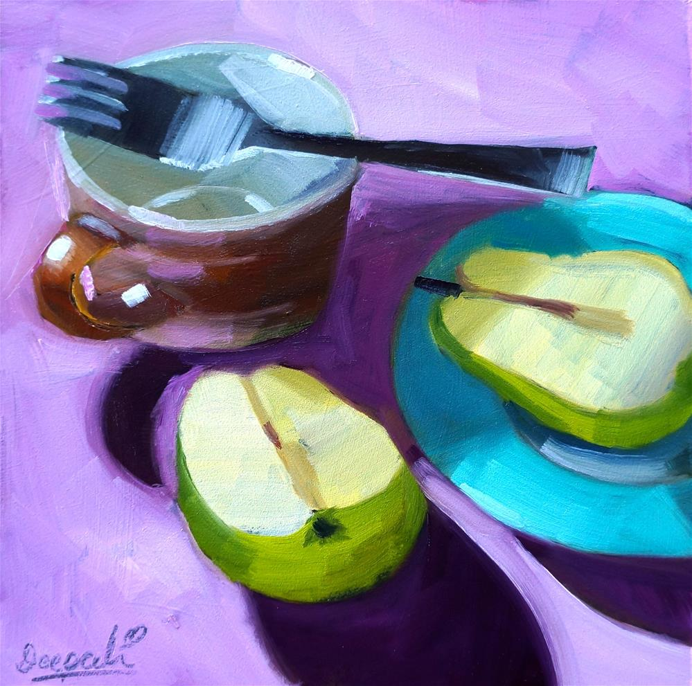 """Split pear and cup"" original fine art by Dipali Rabadiya"