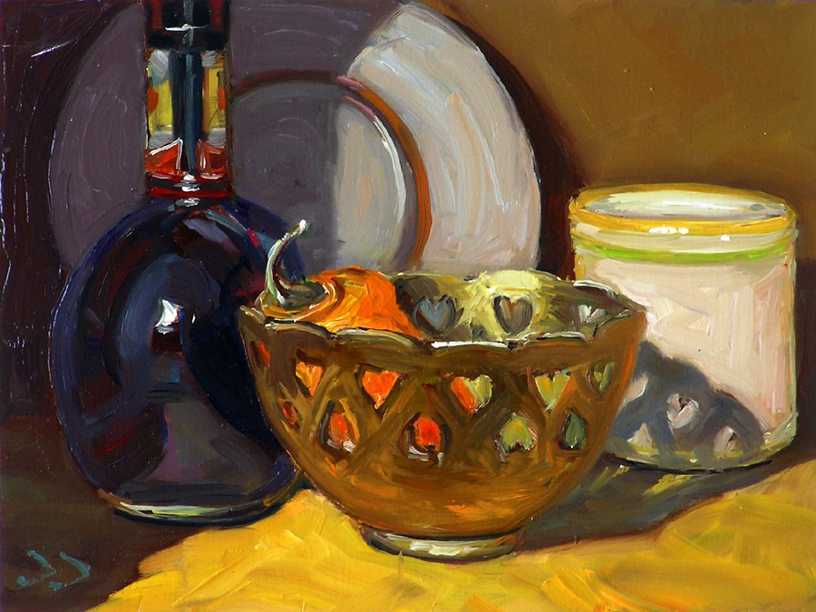 """STILL LIFE WITH HEARTS"" original fine art by Donna Dickson"