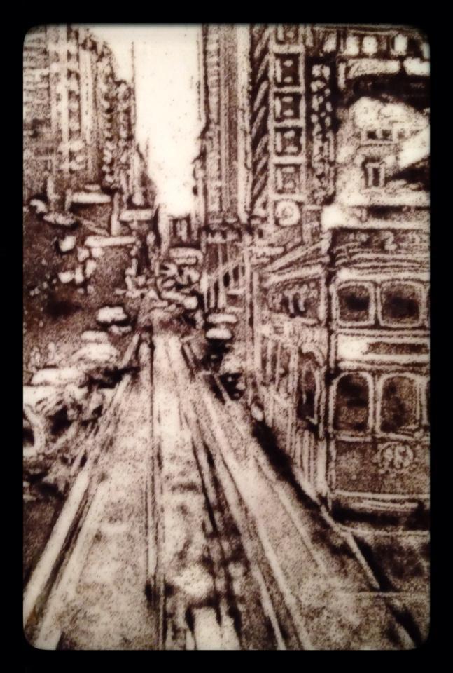 """""""Trolley Stop"""" original fine art by Kelly Alge"""