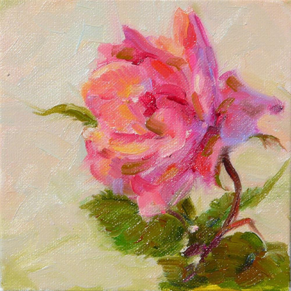 """First Rose of May,stil life,oil on canvas,6x6,price$200"" original fine art by Joy Olney"
