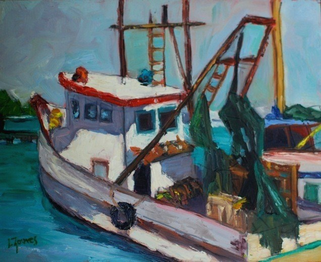 """Rockport Shrimp Boat"" original fine art by Liz Zornes"