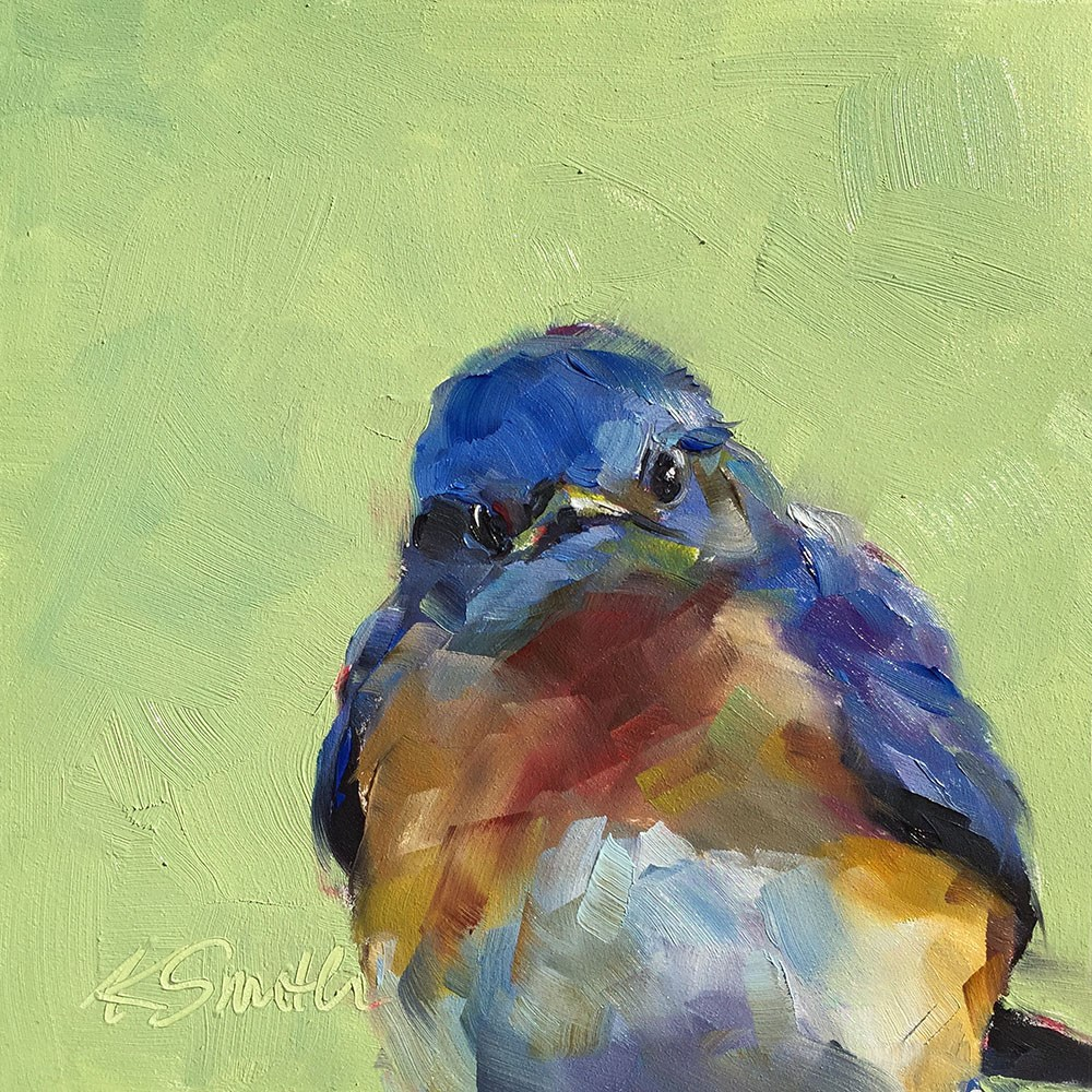"""saturday blue bird"" original fine art by Kim Smith"