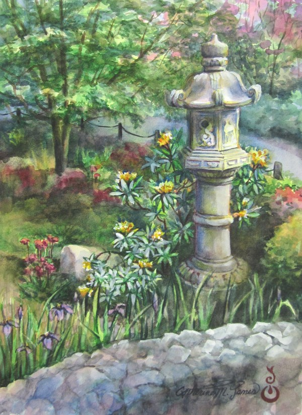 """Japanese Lantern and Bridge"" original fine art by Catherine M. James"