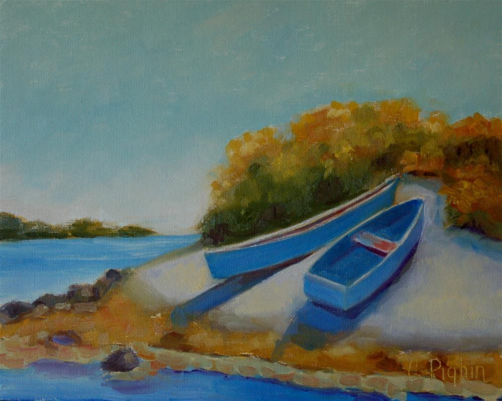"""Boats on a Bank"" original fine art by Carol Pighin"