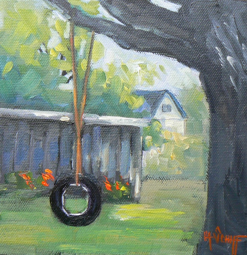 """CHILDHOOD MEMORIES, 6X6, ORIGINAL OIL, CANVAS BOARD"" original fine art by Carol Schiff"