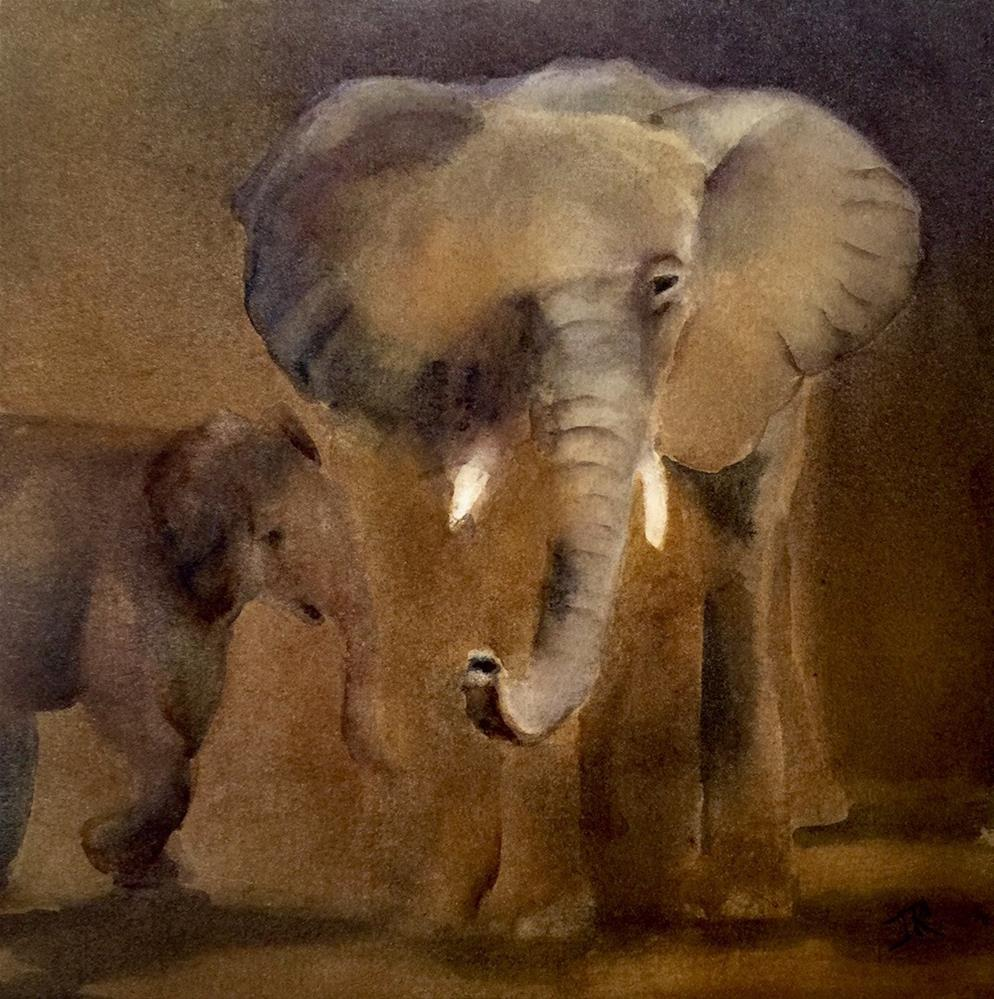"""African Elephant"" original fine art by June Rollins"