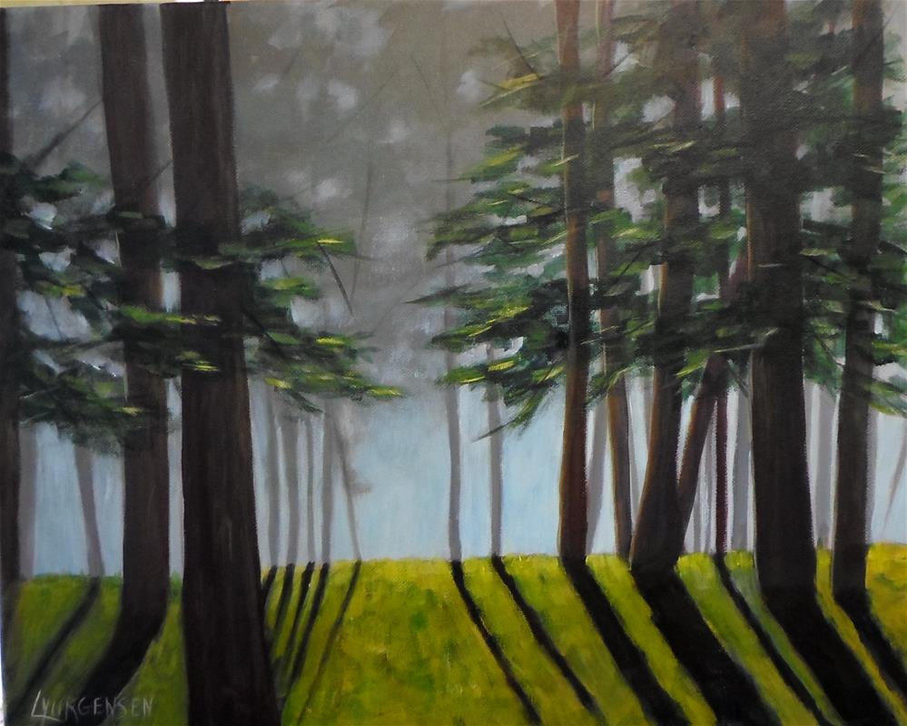 """16 x 20 inch acrylic Beyond the Trees"" original fine art by Linda Yurgensen"