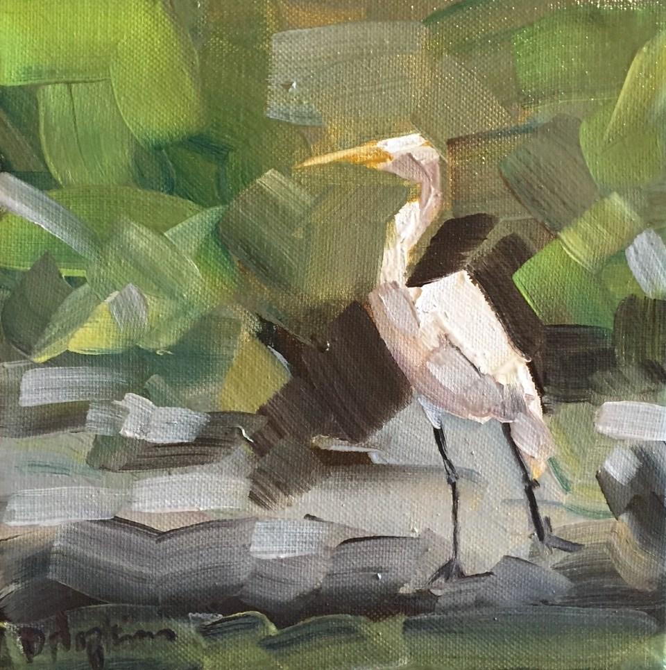 """""""City Park Egret"""" original fine art by Denise Hopkins"""