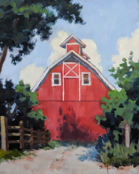 """The Red Barn"" original fine art by Susan Matteson"