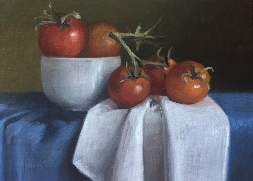"""Tomatoes for Theresa"" original fine art by Naomi Hughes"