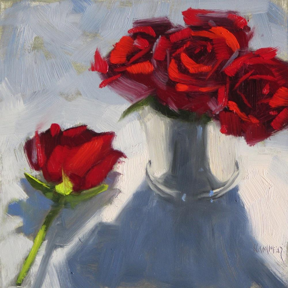 """Roses in a Julep  6 x 6  oil"" original fine art by Claudia Hammer"
