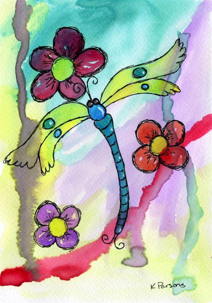 """Lovely Dragonfly Amongst Flowers"" original fine art by Kali Parsons"