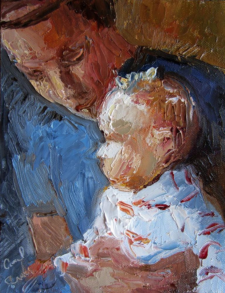 """Baby and Dad"" original fine art by Carol Steinberg"