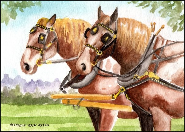 """Ready to Work, Draft Horses"" original fine art by Patricia Ann Rizzo"