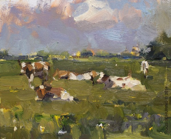 """Cows on a Sunny Day"" original fine art by Roos Schuring"