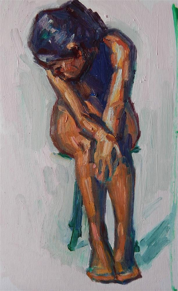 """Girl Sitting"" original fine art by Megan Schembre"