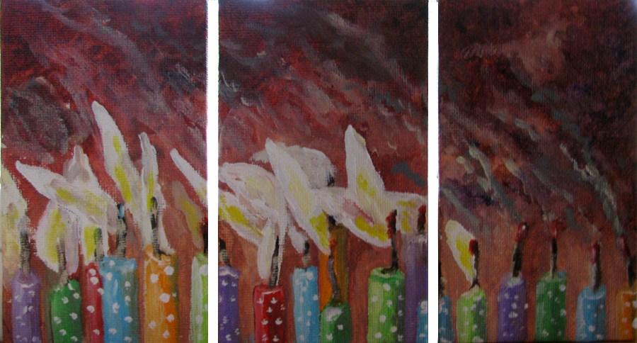 """""""Polka Dot Candles"""" original fine art by Nan Johnson"""
