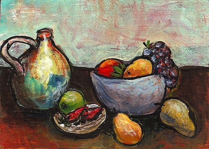 """ACEO Still Life Jar and Fruit Cezanne Style Miniature Masters SFA Penny StewArt"" original fine art by Penny Lee StewArt"