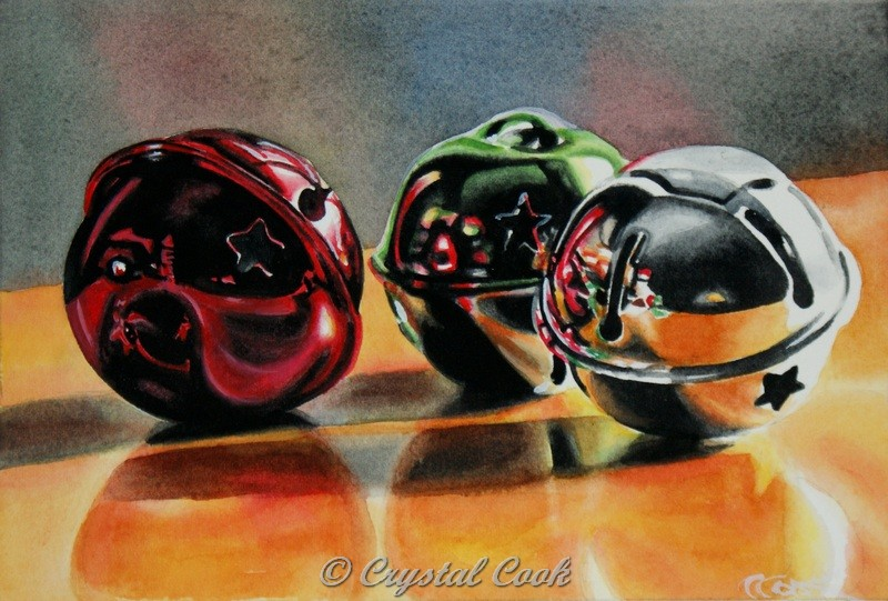 """Sleigh Bells Ring"" original fine art by Crystal Cook"