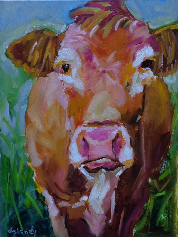 """Cow 115 LIVING IN PARADISE"" original fine art by Jean Delaney"
