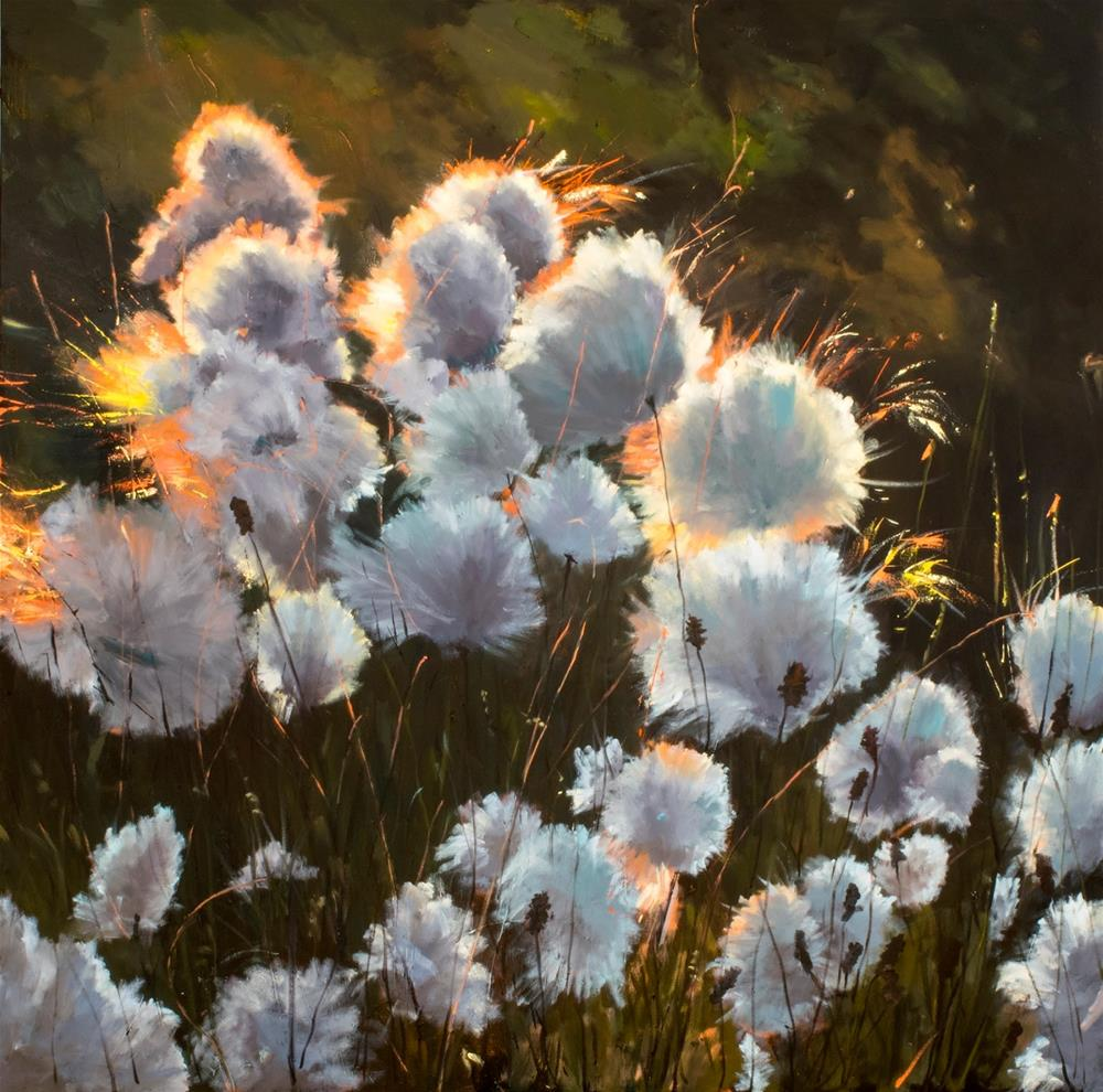 """KM3018 Arctic Cotton Grasses by Colorado artist Kit Hevron Mahoney (48x48 landscape, cotton grasses,"" original fine art by Kit Hevron Mahoney"