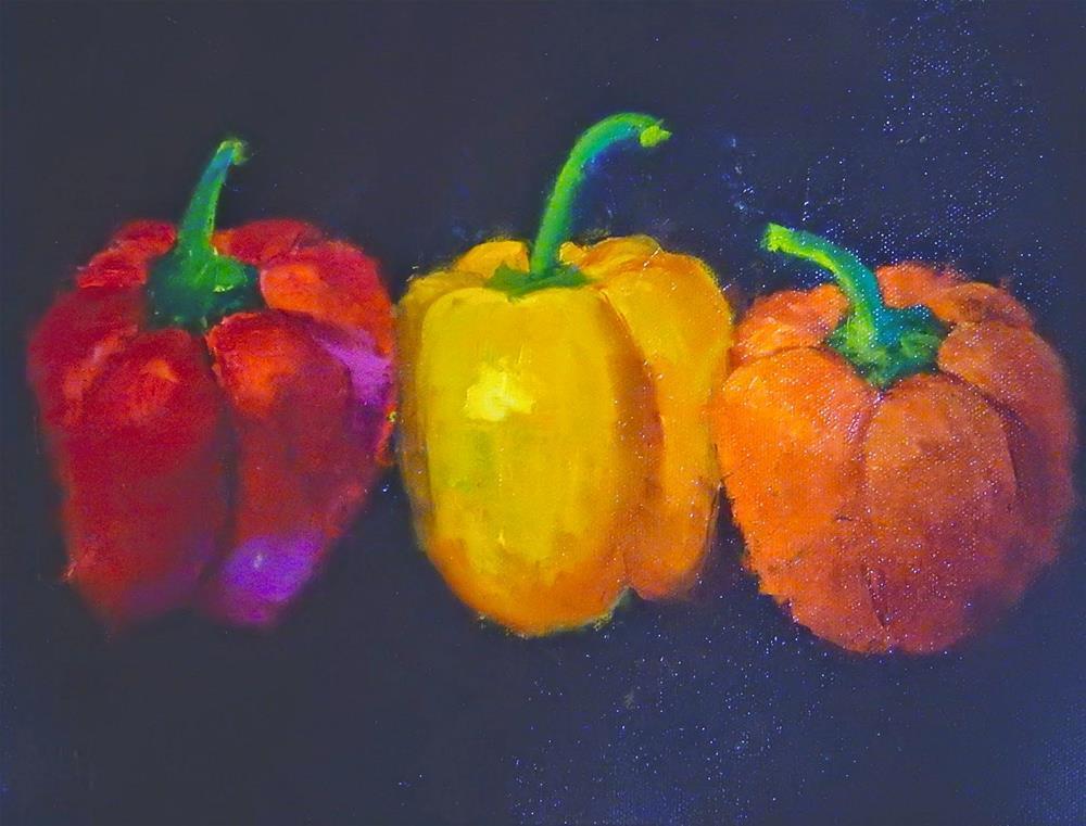 """Tres Peppers"" original fine art by Phyllis Davis"