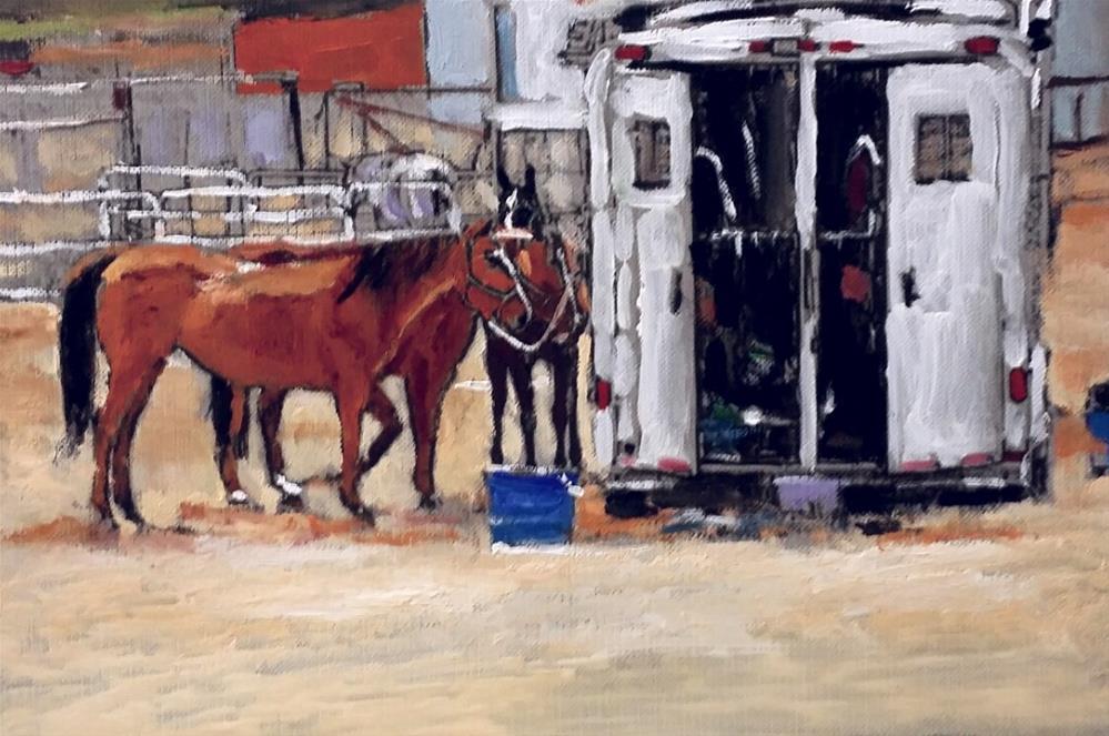 """The Old Horse Trailer (9.5 x 6.5 oil on canvas sheet - no frame)"" original fine art by Ramon DelRosario"