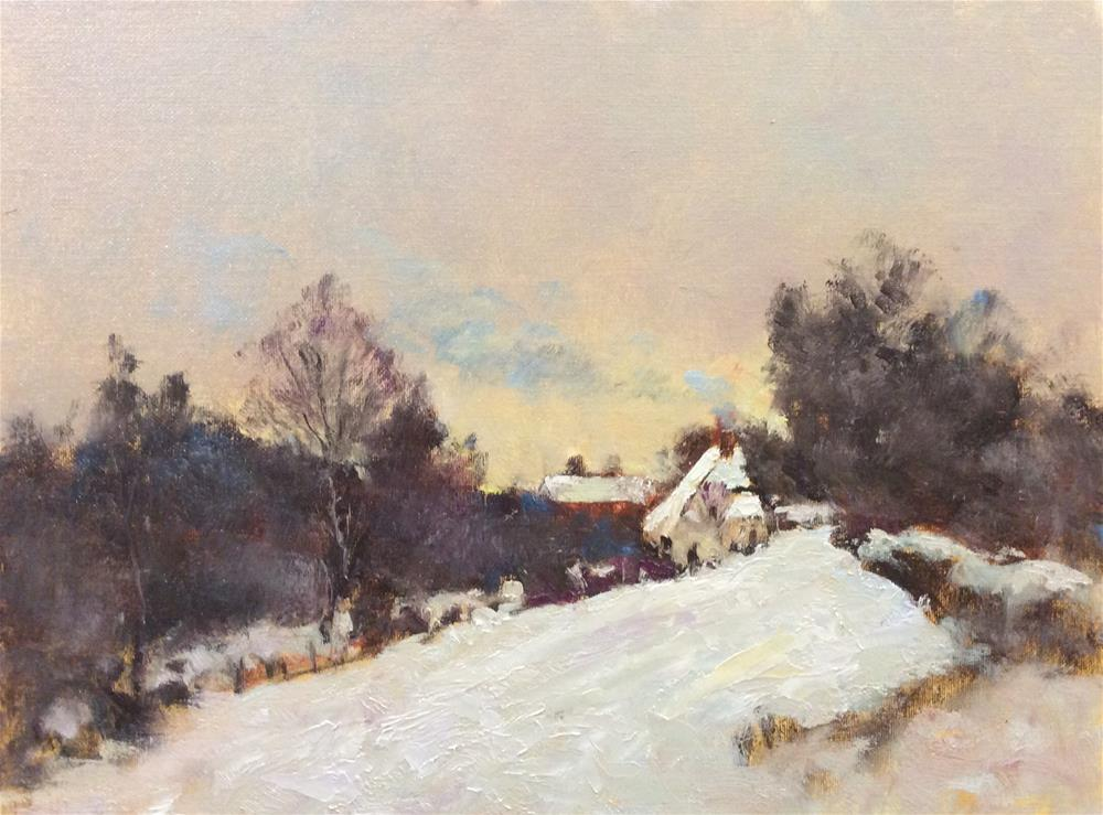 """The Cottage in Winter"" original fine art by John Shave"