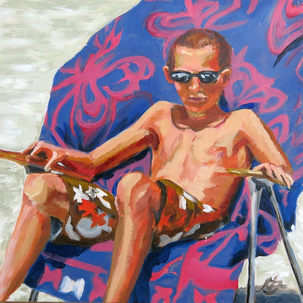 """""""Boy On A Butterfly Towel"""" original fine art by Nancy Fairchild"""