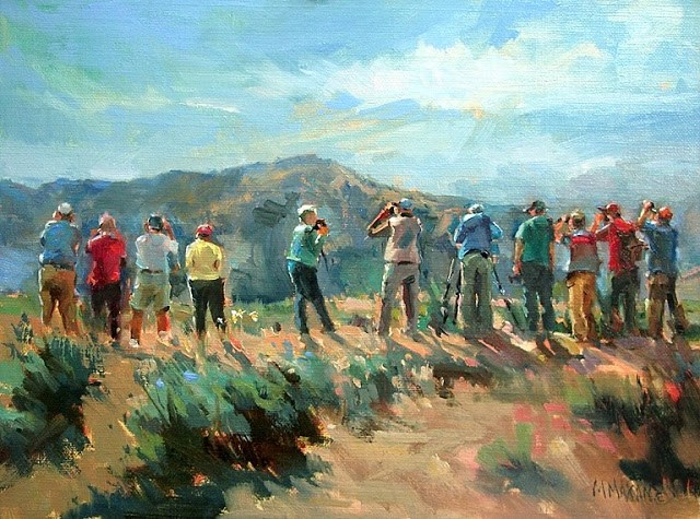 """'Birds Of A Feather' - birders in Yellowstone"" original fine art by Mary Maxam"