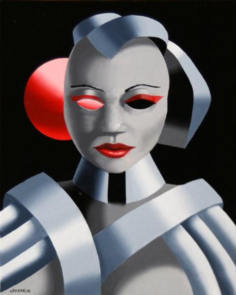 """Mark Webster - Exoskeleton #1 - Abstract Portrait Oil Painting"" original fine art by Mark Webster"