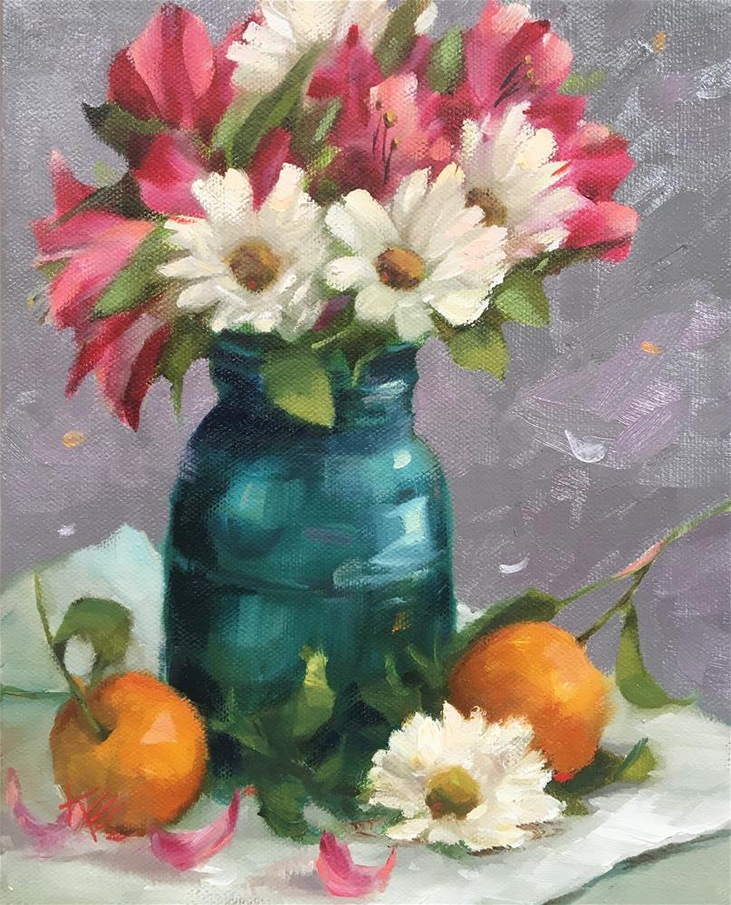 """Oranges & Daisies in Ball jar"" original fine art by Krista Eaton"