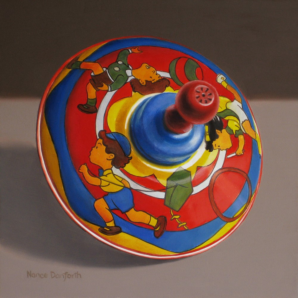 """""""Toy Top with Children Playing"""" original fine art by Nance Danforth"""