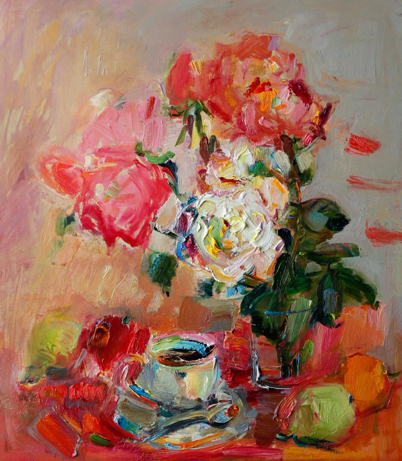 """""""Still Life with a Cup of Coffee, Roses and Fruits"""" original fine art by Anna  Fine Art"""