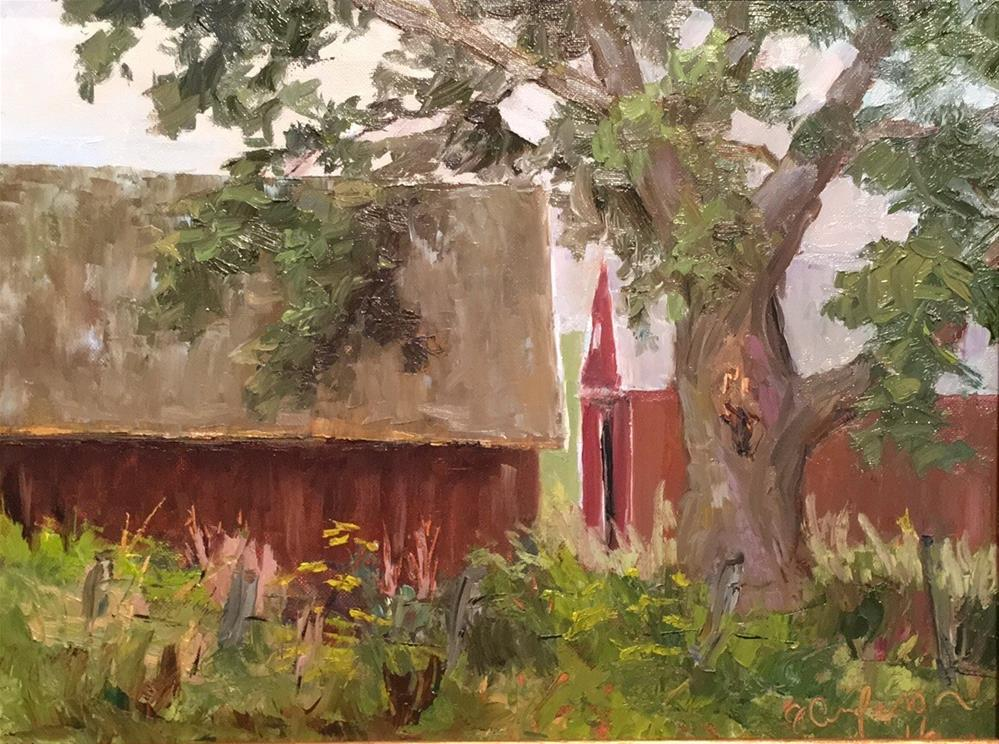 """Sheds on County Road 1 "" original fine art by Judith Anderson"