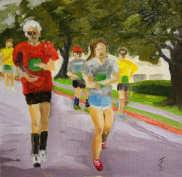 """Marathon"" original fine art by Jane Frederick"