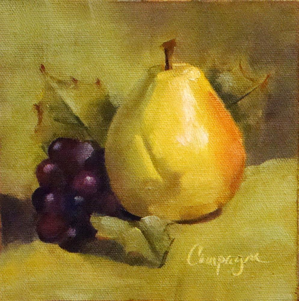 """Found Pear and Grapes"" original fine art by Roseanne Campagna"