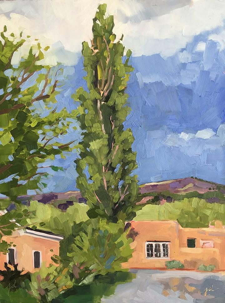 """""""Storm over Los Luceros Ranch"""" original fine art by Jessie Dodington"""
