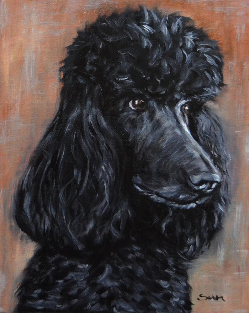"""black standard poodle"" original fine art by Sun Sohovich"