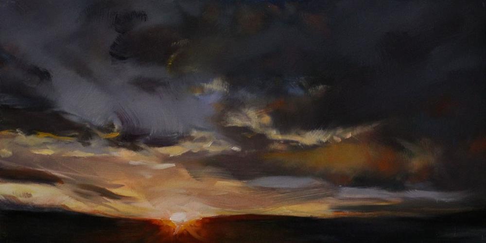 """""""Pueblo West Sundown"""" original fine art by Pamela Poll"""