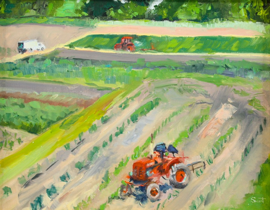 """Tractor Break"" original fine art by Pamela Sweet"