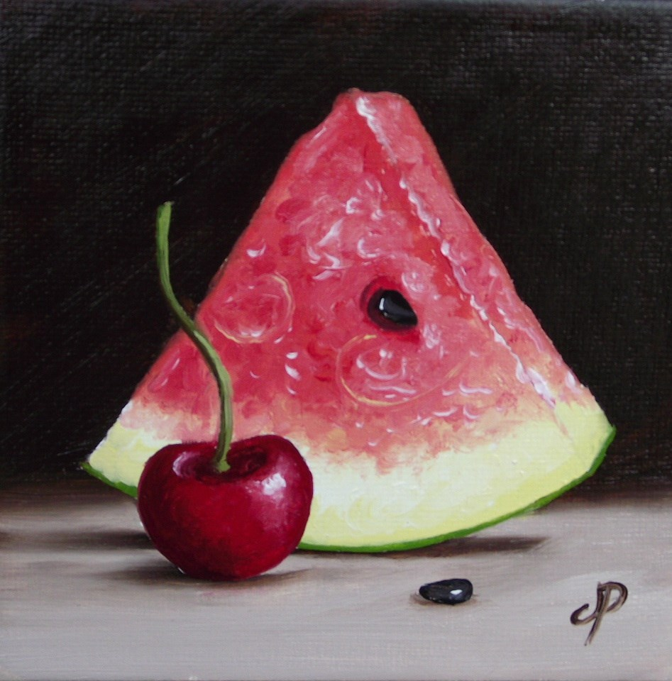 """Little Watermelon slice & Cherry"" original fine art by Jane Palmer"