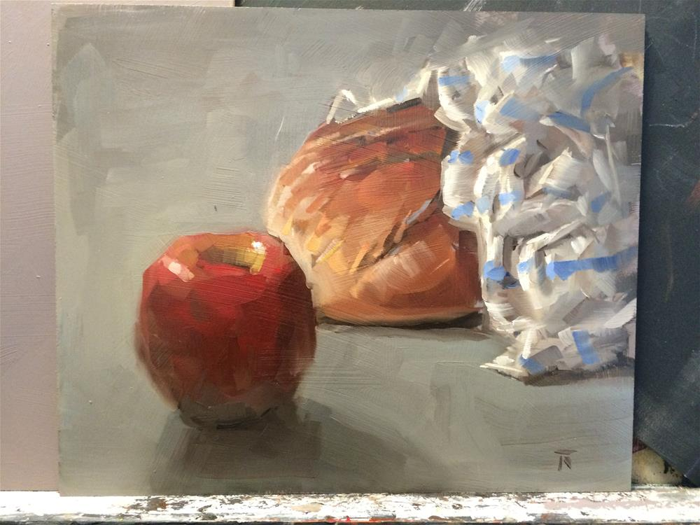 """A&B series: 3. Apple bites bread"" original fine art by Thomas Ruckstuhl"
