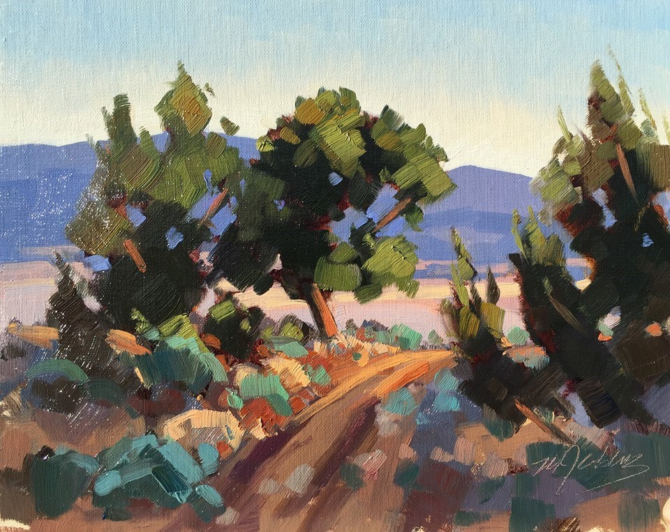 """Bike Trail - Three Peaks"" original fine art by Mary Jabens"